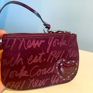 Coach red heart burgundy red wristlet
